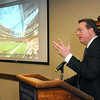 Pat Christman<br /> Minnesota Vikings Vice President Lester Bagley talks about the features of the interior of the team's new stadium Wednesday at Minnesota State University.