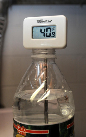 The cold water running from the Lowry's tap has been 39-40 degrees.