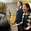 Rebecca M. Bergen visits with faculty and staff at Gustavus Adolphus College during a reception following an announcement on Friday that she had been selected to replace Jack. R. Ohle as the 17th president of the college. Bergman will be the first women to serve in that post since the college was founded 152 years ago. George Hicks, chair of the college's Board of Trustees, also is pictured.