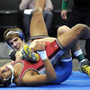 John Cross<br /> Louis Sanders of Lake Crystal-Wellcome Memorial gets opponent Patrick Ramirez of Triton on his back during the 126-pound, Class A championship. Sanders decisioned Ramirez 11-6.