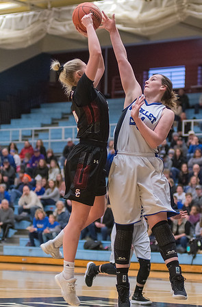 Nicollet/Mankato Loyola's Jill Thompson (right) blocks a shot put up by St. Clair's Claire Anderson in the first half of Tuesdays Section 2A playoff game played at Gustavus. Photo by Jackson Forderer