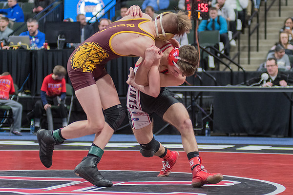 St. James' Sam Kulseth throws his opponent Wyatt Lahr of Royalton/Upsala to the mat in the Class A 126-lb. 5th place match. Kulseth won the match for 5th place. Photo by Jackson Forderer