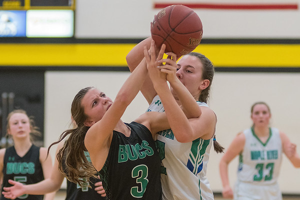 Waterville-Elysian-Morristown's Toryn Richards (3) and Maple River's Isabella Nelson fight for a rebound in the second half of Friday's Section 2A playoff game. Photo by Jackson Forderer