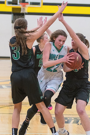 Maple River's Victoria Barkosky (center) tries to split the defense of Waterville-Elysian-Morristown's Toryn Richards (3) and Ellie Ready in Friday's Section 2A playoff game. WEM won a nail-biter 58-55 to advance in the tournament. Photo by Jackson Forderer