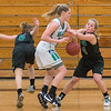 MaeLea Harmon of Waterville-Elysian-Morristown tries to steal the ball from Maple River's Madi Schemer in the second half of Friday's Section 2A playoff game played at Mankato East. Photo by Jackson Forderer