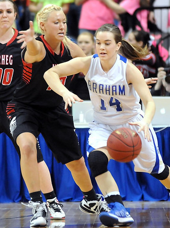New Richland-Hartland-Ellendale-Geneva's Paige Overgaard defends Braham's Angela Bendickson during the first half of their State Class AA championship game Saturday at Target Center.