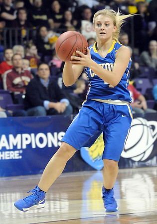 during the first half of their Section 2A championship game Friday at Bresnan Arena. Pat Christman