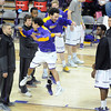 Minnesota State's Jaymeson Moten welcomes Gage Wooten to the court as he is introduced before the NCAA Division II Central Region tournament game Saturday at Bresnan Arena. Pat Christman