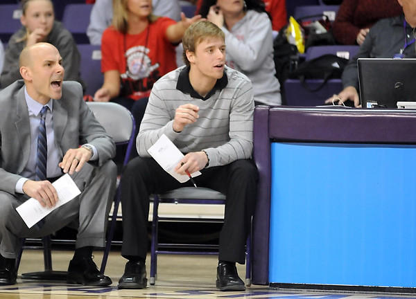 Arkansas State assistant coach and former Mankato West basketball standout Bryce Brunz watches the game against Central Missouri Saturday at Bresnan Arena. Pat Christman