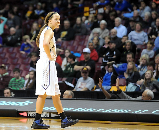 Loyola's Lindsey Theuninck walks off the court after fouling out of the game during the Class A semifinal game against Win-E-Mac Thursday at Williams Arena. Pat Christman