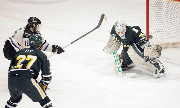 Minnesota State's Matt Leitner scores with .5 seconds left in the first period against Northern Michigan Saturday at the Verizon Wireless Center. Pat Christman