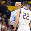 Minnesota State coach Matt Margentaler calms down Zach Monaghan during the second half of the NCAA Division II Central Region semifinal game Sunday at Bresnan Arena. Pat Christman