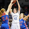 Mankato Loyola's Annie Nawrocki takes a shot during the first half of the Class A semifinal game Thursday at Williams Arena. Pat Christman