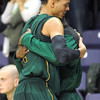 Missouri Southern State's Marquis Addison gets a hug from a teammate at the end of the NCAA Division II Central Region semifinal game against Central Missouri Sunday at Bresnan Arena. Pat Christman