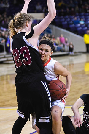 Marnie Wagner of New Richland-Heartland-Ellendale-Geneva crashes into Bren Fox (23) of Norwood-Young America in the Section 2AA championship game. NRHEG will face #1 seeded Roseau (29-0) in the first round of the state tournament. Photo by Jackson Forderer