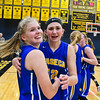 Waseca's Taylor Hiller, left, and Hannah Potter celebrate after defeating New Ulm in the Section 2AAA championship game. Waseca will play the Academy of Holy Angels today in the first round of the state tournament. Photo by Jackson Forderer
