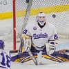 Minnesota State goalie Dryden McKay watches the puck rebound away from the goal after making a save in the third period in Saturday's game against Lake Superior State. McKay allowed only one goal in the series. Photo by Jackson Forderer
