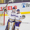 Minnesota State's Andrew Carroll and Dryden McKay congratulate each other after defeating Lake Superior State 2-0 on Saturday. The Mavericks will face Bowling Green in the championship round next weekend. Photo by Jackson Forderer