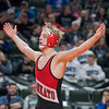Charlie Pickell of Mankato West raises his arms after winning the Class AA 113-pound championship over Jake Svihel of Totino-Grace at the state wrestling tournament held at the Xcel Energy Center in St. Paul on Saturday. Pickell repeated as the 113-pound champion. Photo by Jackson Forderer