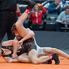 United South Central's Blake Legred wrestles against Ashton Clark of Park Rapids at the state wrestling tournament held at Xcel Energy Center in St. Paul on Saturday. Legred defeated Clark 6-0 to claim the Class A 106-pound championship. Photo by Jackson Forderer