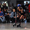 Mankato Area Derby Girls jammer Nurse Nutcase (Brittany Schlie) races around the bend during the teams first home bout Saturday at the Verizon Wireless Center.