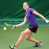 Minnesota State's Brandi Dohmen returns a volley during her singles match against Gustavus Adolphus College's Laurel Krebsbach Saturday in St. Peter.