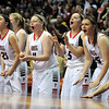 The NRHEG bench cheers during the second half of the Class AA state championship game Saturday at Williams Arena. Photo by Pat Christman