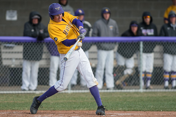Minnesota State's Carter Elliott hits the ball in the second inning against Bemdji State as the Mavericks' bats came alive and scored 7 runs in the inning. The Mavericks won the game 13-0. Photo by Jackson Forderer