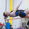 Chantal Weber of Loyola/Cleveland looks at the bar as she makes an attempt in the high jump event during Tuesday's track meet held at Myers Field House on the Minnesota State campus. Photo by Jackson Forderer