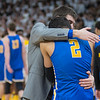 Waseca head coach Seth Anderson gives Malik Willingham a hug at the end of the championship game against De La Salle. Willingham led the Bluejays with 21 points in his last game for Waseca. Photo by Jackson Forderer