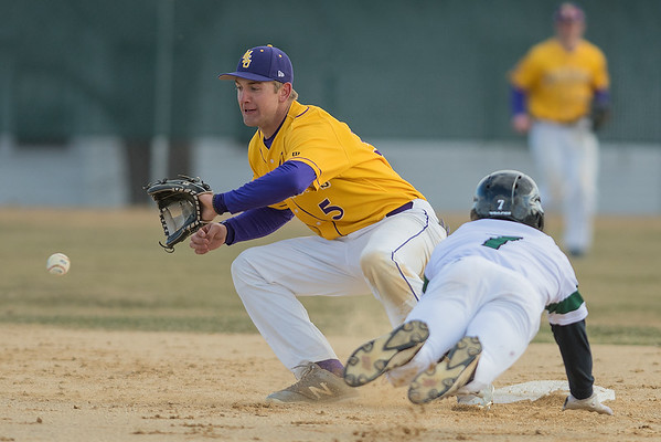 Minnesota State's Nick Altermatt fields a throw to second base as Bemdji State's Austin Weisz successfully steals the base in the second game of a double header played on Saturday. Photo by Jackson Forderer