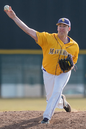 Trevor Devinski of Minnesota State delivers a pitch to a Bemdji State batter in the second game of a double header played on Saturday. Devinski threw a one-hit shutout as the Mavericks won the game 13-0. Photo by Jackson Forderer