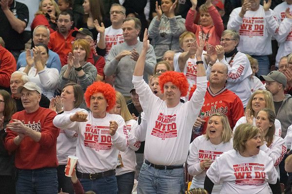 Corey Prigge (second from left) and Darian Baker (third from left) cheer on the New Richland-Hartland-Ellendale-Geneva boys basketball team during their quarterfinal game against St. Cloud Cathedral at Williams Arena in Minneapolis on Wednesday. Photo by Jackson Forderer