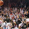 Players and fans of New Richland-Hartland-Ellendale-Geneva erupt after Benji Lundberg hit a three-pointer as time expired in regulation to send the quarterfinal game against St. Cloud Cathedral into overtime. NRHEG had four players foul out in their 70-59 overtime loss to the Crusaders. Photo by Jackson Forderer