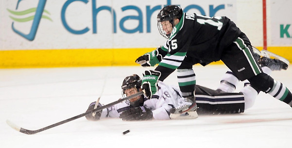 Minnesota State's Matt Leitner flips the puck away from North Dakota's Michael Parks during the first period Friday at the Verizon Wireless Center.