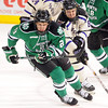Minnesota State's Max Gaede pursues North Dakota's Brendan O'Donnell during the first period Saturday.