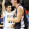 Pat Christman<br /> St. Peter's Kolin Bartlett celebrates after drawing a foul as Le Sueur-Henderson's Bradley Rose holds up his hands in the closing seconds of their Section 2AA championship game Friday at Bresnan Arena. Bartlett made both of the free throws to give St. Peter the lead and the eventual win.