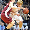 Pat Christman<br /> St. Peter's Cody Erickson tries to get around Fairmont's Taylor Beebe during the first half of their State Class AA quarterfinal game Wednesday at the University of Minnesota's Williams Arena.