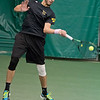 Mohaned Alhouni of Gustavus hits a forehand in the #1 singles match during the Gusties match against Luther on Saturday. Photo by Jackson Forderer