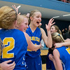 Waseca's Rachel Breck puts her hands in the air as teammates celebrate around her after the Bluejays defeated New Ulm 61-56 to earn a state tournament berth. Photo by Jackson Forderer