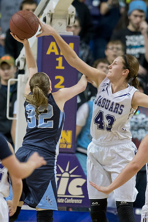 Granada Huntley East Chain-Truman-Martin Luther's Kenlie Pytleski (43) blocks a shot put up by Cedar Mountain-Comfrey's Taylor Rose (32) in the second half of Friday's Section 2A championship game. GHEC-TML won 63-53 to gain a berth in the state tournament. Photo by Jackson Forderer