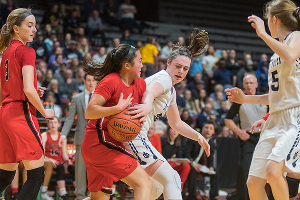 St. Peter's Morgan Kelly fights for a loose ball against Minnehaha Academy's Tanna Gallo in the first half of Wednesday's Class AA quarterfinal game of the girls state basketball tournament. The Saints fell to Minnehaha 56-37. Photo by Jackson Forderer