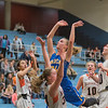 Waseca's Brianna Highum puts up a shot as Marshall's Emily Meier defends the basket in the second half of play of the Section 2AAA girls championship basketball game. Highum was called for a charge on the play. Photo by Jackson Forderer