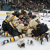 The Mankato East/Loyola boys hockey team celebrates after defeating Rochester Lourdes 6-1 in the Section 1A championship game. It is East's first time back to the state tournament since 2006. The first round of the state tournament games begin on Mar. 7. Photo by Jackson Forderer