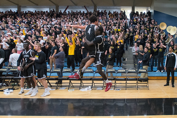 Mankato East's Damani Hayes (4) and Uhana Ochan jump in celebration as the final seconds ticked off the clock in the Section 2AAA championship game played in St. Peter on Thursday. The Cougars won 78-70 to gain a berth in the state tournament. Photo by Jackson Forderer