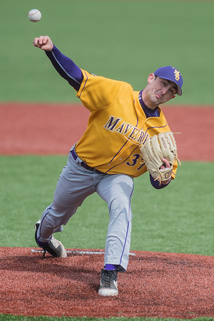 Minnesota State's Carlo Graffeo delivers a pitch to a University of Mary batter in the second game of a double header played on Friday. Photo by Jackson Forderer