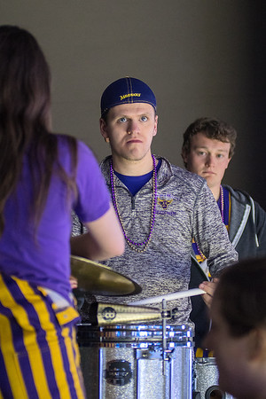 Percussionists with the Maverick Machine play before the puck dropped against University of Minnesota Duluth on Friday. Photo by Jackson Forderer