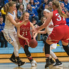 Mankato West's Claire Hemstock (right) tries to come to the aid of teammate Lani Schoper (21) as she was trapped by Waseca's Brianna Highum (left) and Gus Boyer (second from right) as the Bluejays ramped up their defensive pressure on the Scarlets in the second half. The Scarlets held onto their lead for a 47-37 win and will represent Section 2AAA at the state tournament. Photo by Jackson Forderer