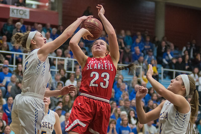 Gus Boyer (left) of Waseca blocks Mankato West Ashley Gustavson's shot in the second half of Thursday's Section 3AAA championship game. Both teams' offenses had a slow start but strong defensive efforts, with the game knotted up at six late in the first half. Photo by Jackson Forderer
