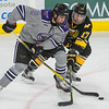 Minnesota State's Connor Mackey (left) drives towards the goal while being defended by Michigan Tech's Justin Misiak during Friday's WCHA playoff game at the Verizon Center. The Mavericks won the game 2-1 and looks to close the series with a win tonight. Photo by Jackson Forderer